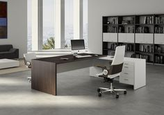 Our Modern Office Desk collection showcases some of the most stylish executive office furniture found anywhere. Reinvent your office space with our contemporary business furniture designs. Executive Office Furniture, Office Furniture Design, Office Interior Design, Office Interiors, Furniture Nyc, Furniture Companies, Glass Furniture, Contemporary Office Desk, Modern Office Desk