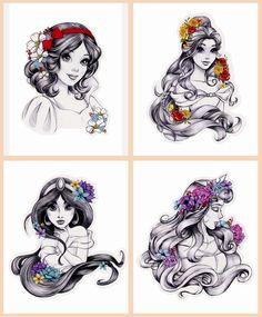 Disney Princess Stickers from Hot Topic Cute Disney Drawings, Disney Princess Drawings, Disney Princess Tattoo, Disney Sketches, Twisted Disney Princesses, Arte Disney, Disney Art, Tinkerbell Disney, Hot Topic Disney