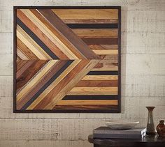 Pieced Wood & Metal Square - Sold out, but I like the idea of wood artwork in bathroom
