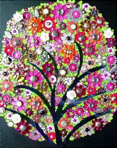 Mirrored glass, beads and buttons