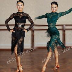 Latin Dance Dresses, Ballroom Dance Dresses, Latino Dance, Rumba Dance, Salsa Dress, Fringe Dress, Samba, Dance Wear, Cure