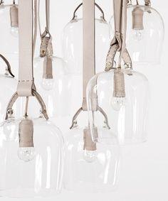 Craftica by Formafantasma, Bells-lights: discarded Fendi leather, glass