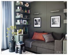 Organizing Ideas - Celebrity Home Design - Hilary's Swank Manhattan apartment living room ELLE DECOR Elle Decor, Olive Green Rooms, Small Apartments, Small Spaces, Mini Loft, Manhattan Apartment, York Apartment, Manhattan Nyc, Apartment Interior