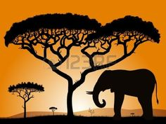 Savannah - elephant. Dawn in the African savanna. Silhouettes of trees and elephant against the backdrop of an orange sky. Stock Vector