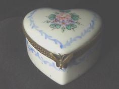 Limoges Porcelain France Hand Painted Flowers Heart Shaped Miniature Trinket Box