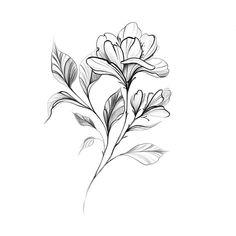 25 Beautiful Flower Drawing Information & Ideas Mini Tattoos, Rose Tattoos, Flower Tattoos, Small Tattoos, Arm Tattoos, Floral Tattoo Design, Flower Tattoo Designs, Tattoo Sketches, Tattoo Drawings