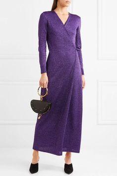 Missoni - Metallic Stretch-knit Wrap Maxi Dress - Purple