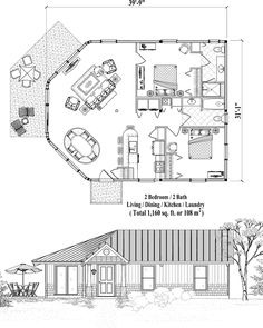 Online House Plan 1160 Sq Ft 2 Bedrooms Baths