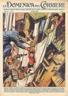 Walter Molino e la Domenica del Corriere / 15 marzo 1959. Salerno. Un bimbo che sta precipitando dal quinto piano della propria abitazione, dopo aver rallentato la caduta aggrappandosi alle corde tese tra un balcone e l'altro, viene soccorso e salvato da un condomino del terzo piano