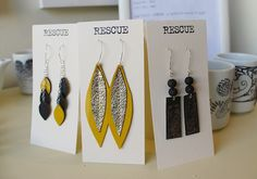 rescued leather earrings