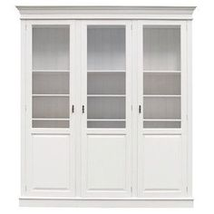 Hamptons Style Display Cabinet In White