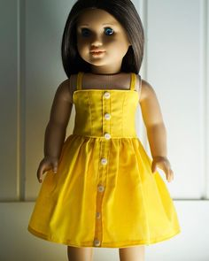 """@shop.pagr: """"*SOLD* The Sunshine Dress features a faux button front and mid length skirt. The back features a…"""" Mid Length Skirts, American Girl, Doll Clothes, Sunshine, Summer Dresses, Button, Shop, Vintage, Style"""