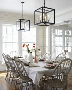 Lake House dining room by Muskoka Living -walls, painted windsor chairs love the chairs
