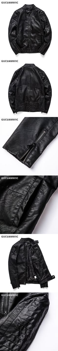 2017 Autumn And Winter New products Men's Leather zipper PU Slim stripe Leisure brand Men leather jacket