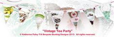 Bunting for shop windows. This design would look great in tea shop! Shop Windows, Vintage Tea, Bunting, Bespoke, Tea Party, Looks Great, Design, Taylormade, Garlands