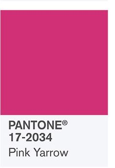 the spring 2017 Color Palette:  PANTONE 17-2034 Pink Yarrow Tropical and festive, Pink Yarrow is a whimsical, unignorable hue that tempts and tantalizes. Bold, attention getting and tempestuous, the lively Pink Yarrow is a captivating and stimulating color that lifts spirits and gets the adrenaline going.