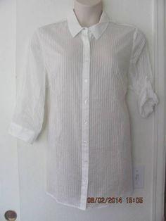 c693ae46 Coldwater Creek Women's Plus Striped Button Down Shirt Tops & Blouses