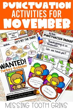 Teaching and reviewing punctuation in first and second grade can be fun and engaging when you add the best activities! This includes write the room, centers, and more. (November, Thanksgiving)