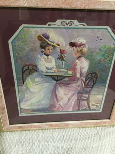 This Victorian print is absolutely gorgeous! Two beautiful victorian ladies dressed in lovely victorian attire having coffee or tea in a bricked