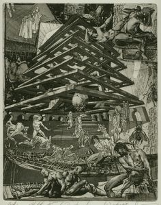 Alexander Steshenko: The Gates to Hell. 1995, etching, aquatint, 'Dante Comedy Hell' series, Plate 3, 19 by 25 cm.