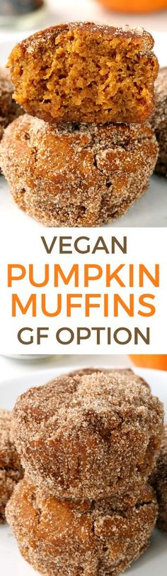 These vegan pumpkin muffins can be made with gluten-free, whole wheat or all-purpose flour. Naturally sweetened with maple syrup and covered in cinnamon sugar!