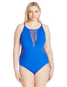 c5cdf68a737d4 Awesome La Blanca Women s Plus Size All Meshed up U-Back Over the Shoulder  Sexy