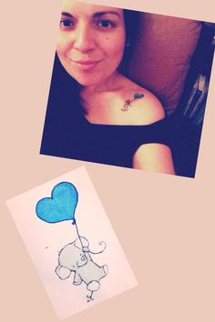 My little elephant tattoo! This little guy has so much positive meaning :) from prosperity to determination and strength, patience and beauty, wisdom and communication... This buddy is hanging from his very light and calm heart, letting it guide him all the way! #elephant #tattoo #ink #heart #balloon
