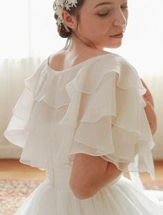 Wedding capelet, cape, wedding lace bolero, bridal flutter top, wedding top, bridal cover up, wedding jacket, shurug - style WM705