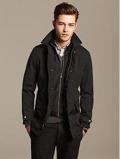 Banana Republic Black Mac Jacket #menswear #boyfriendstyle