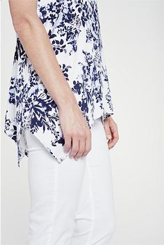 Printed Trapeze Top - Designer Women's Clothes Online