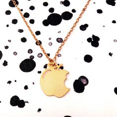 Apple Necklace Silver Gold Filled Necklace Apple Icon Jewelry Art Logo Beep Studio Design Gold Plated Small Pendant Miniature Minimalist