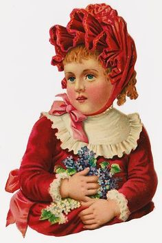 Victorian Die Cut Scrap, Large Busts Child: