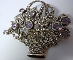 Vintage Rare Fine Mark Sterling Silver 925 Marcasite Flowers Basket Pin Brooch