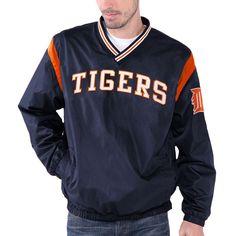Detroit Tigers Wild Pitch V-Neck Pullover Jacket - Navy Blue