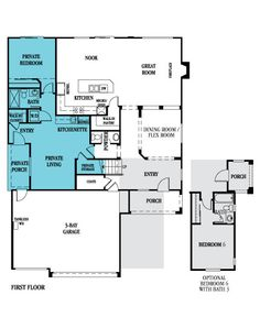 floor plan for multi-generational living in one house. | house