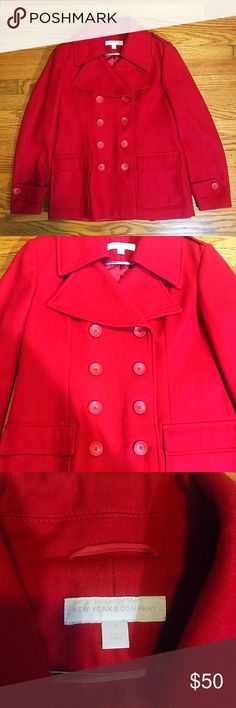 New York & Company Red Pea Coat In excellent condition as shown.  Worn a few times for formal events only. New York & Company Jackets & Coats Pea Coats