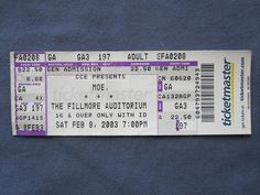 Moe., The Fillmomre Auditorium, 2/8/2003, 22.50