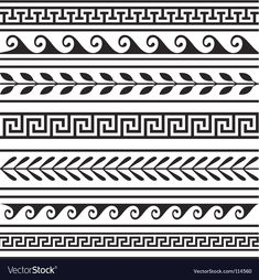 Vector - Set of geometric greek borders - stock illustration, royalty free illustrations, stock clip art icon, stock clipart icons,… Border Pattern, Border Design, Pattern Art, Art Patterns, Pattern Design Drawing, Pottery Patterns, Tangle Patterns, Pattern Images, Pottery Designs