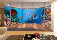 papier peint trompe l'oeil effet 3d tapisserie fond marin les coraux et les poissons