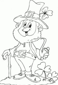 Saint Patricks Day  Leprechaun Holding Pipe Coloring Page For Kids