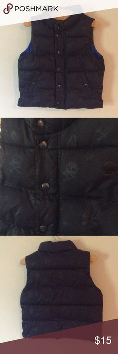 Toddler boy black skull puffer vest Big news, now kids and men's clothing is posh compliant black puffer vest with subtle skulls as shown in second pic, great for the classy rocker, lol. Size 2 years, excellent condition, interior is blue Baby Gap Jackets & Coats Vests