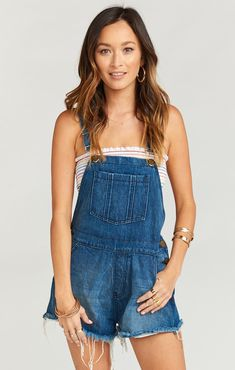 The Georgia Overalls are here for that! These slightly oversized overalls are relaxed and rad! They have a shorty short cut off look. Of course they're adjustable, and have plenty of pockets to fill with posies. For our more girly girls, g Denim Outfit, Overall Shorts, Boho Fashion, Georgia, Overalls, Bridesmaid Dresses, Rompers, Stylish, My Style