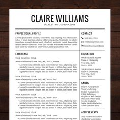 resume cv template free cover letter instant download mac or pc for word modern professional black the claire