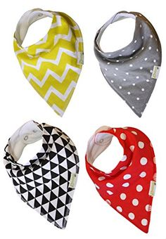 Baby Bandana Drool Bibs with Snaps (Pack of 4) ★ Super Absorbent Cotton Dribble & Teething Unisex Set of Bibs ★ Cute & Cool Patterns for Boys & Girls ★ Your Baby Will Be Drooling in Style ★ Unique Baby Gift ★ Bonus Baby eBook Included and FREE Baby Lifetime Guarantee. My son is the most stylish kid at the day care. Your baby won't be able to pull these bibs off! The matimati Baby Bandana Bib is a great alternative to the traditional baby bib. why? matimati Baby Bibs.