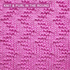 Garter Stitch Zig Zag - knitting in a round. [Knit and Purl in the round] Offsetting purl stitches creates this zigzag effect.