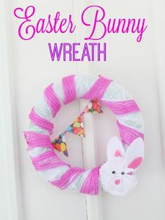 If you need an easy Easter decoration for your home, here it is!  This DIY Easter Bunny Wreath is easy to make and look how cute it is!