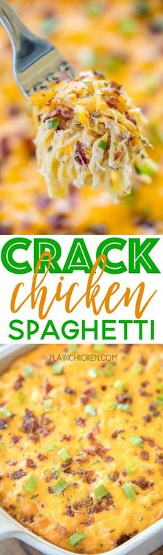 Crack Chicken Spaghetti - chicken spaghetti loaded with cheddar, bacon and ranch. This stuff is totally ADDICTIVE! We make this at least once a month. Everyone cleans their plate, even our picky eaters! Chicken, cream of chicken soup, velveeta, ranch dres