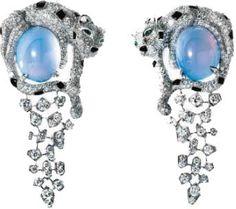 Cartier. Diamond, opal, onyx & emerald panther earrings...♡