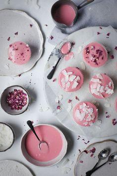 Vanilla bean cupcakes with blood orange glaze