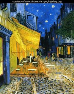 Cafe Terrace on the Place du Forum  Vincent Van Gogh    Vincent van Gogh is probably my favourite post-impressionist. On first seeing his work at the van Gogh Museum in Holland, I inferred that this was a very angry man. The aggressive brush strokes, often dark colours, and the shear depth of paint on canvas led me to my conclusion. At the tender age of thirteen, I didn't know anything about the difficult life he led, but clearly his work spoke volumes.